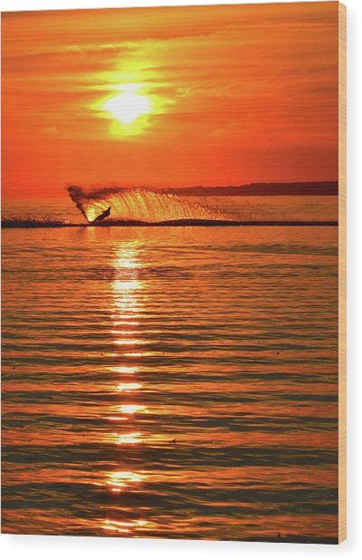 Water Skiing At Sunrise  Wood Print