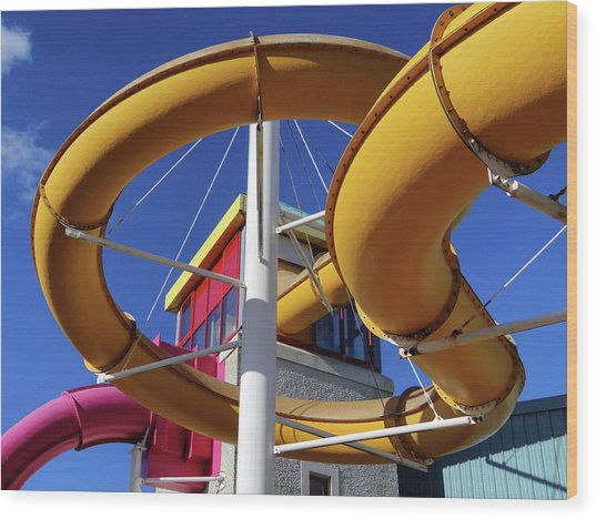 Water Slides At Bundoran Waterworld - Abstract, Bright Primary Colours Against A Deep Blue Sky Wood Print