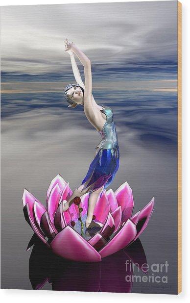Wood Print featuring the digital art Water Sprite by Sandra Bauser Digital Art