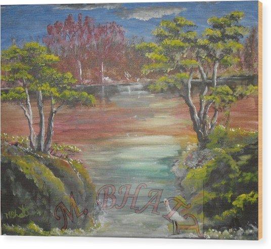 Water Stream Wood Print by M Bhatt