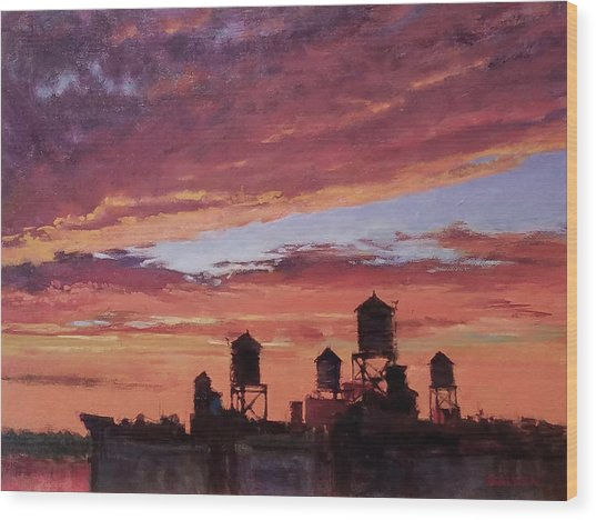 Water Towers At Sunset No. 4 Wood Print