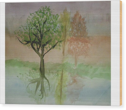 Water Trees Wood Print by Hal Newhouser