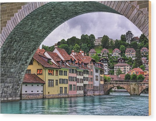 Water Under The Bridge In Bern Switzerland Wood Print