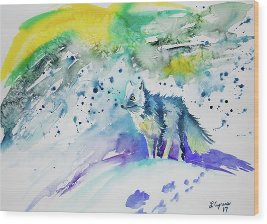 Watercolor - Arctic Fox Wood Print