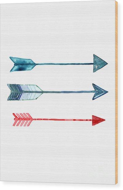Watercolor Arrow Minimalist Painting Wood Print