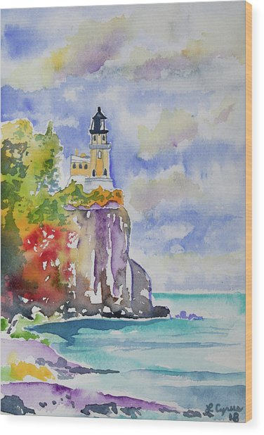 Watercolor - Autumn At Split Rock Lighthouse Wood Print