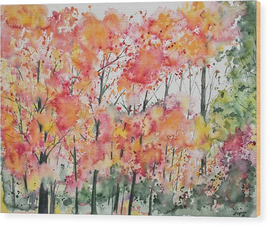 Watercolor - Autumn Forest Wood Print
