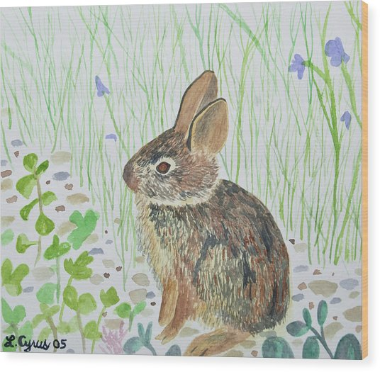 Watercolor - Baby Bunny Wood Print