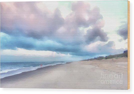 Watercolor Beach Wood Print