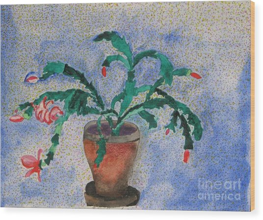 Watercolor Christmas Cactus First Bloom Wood Print by James SheppardIII