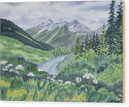 Watercolor - Colorado Summer Landscape Wood Print