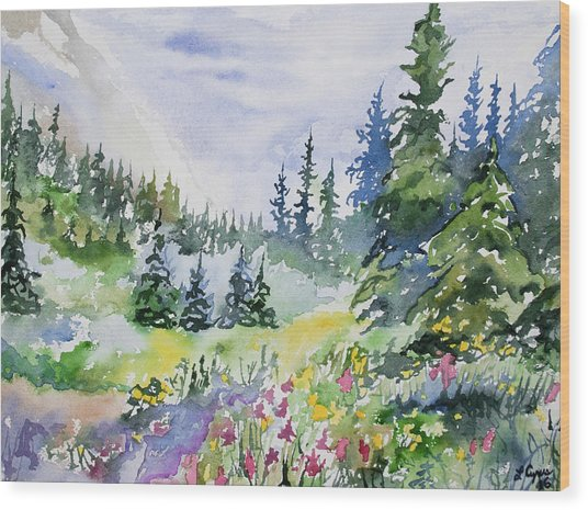 Watercolor - Colorado Summer Scene Wood Print