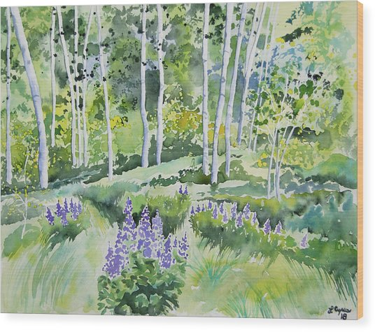 Watercolor - Early Summer Aspen And Lupine Wood Print