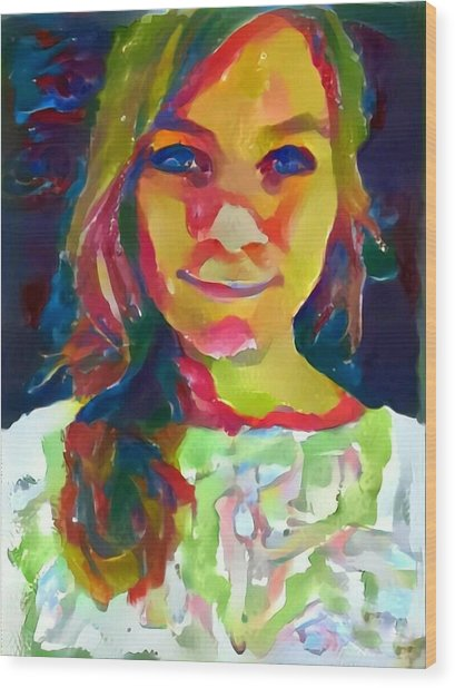 Watercolor Eve Female Portrait Painting Bathed In Sunshine And Vibrant Color Wood Print by MendyZ