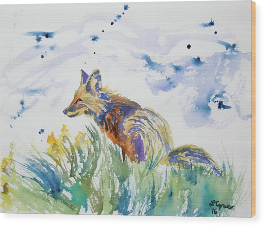 Watercolor - Fox On The Lookout Wood Print