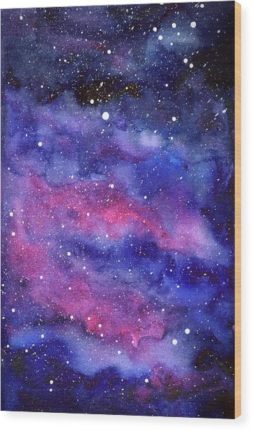 Watercolor Galaxy Pink Nebula Wood Print