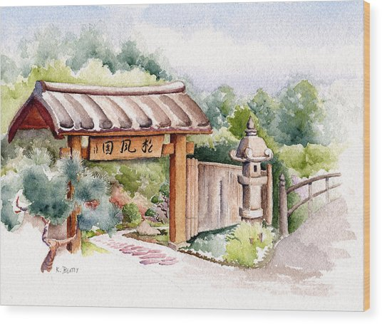 Watercolor Japanese Garden Gate Wood Print