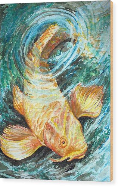 Watercolor Koi Study Wood Print