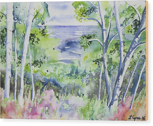 Watercolor - Lake Superior Impression Wood Print