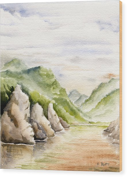 Watercolor Landscape Plein Air Wood Print