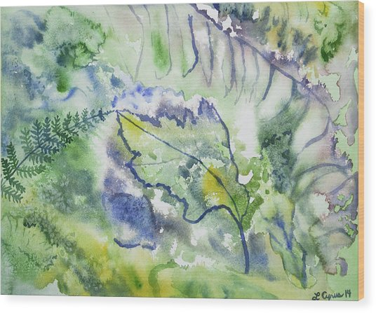 Watercolor - Leaves And Textures Of Nature Wood Print