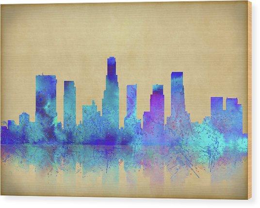 Wood Print featuring the digital art Watercolor Los Angeles Skylines On An Old Paper by Georgeta Blanaru