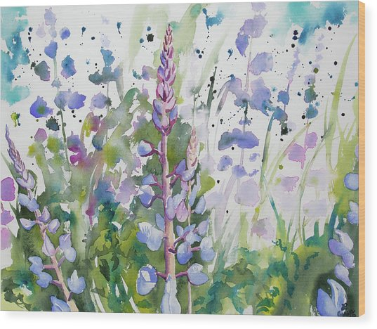 Watercolor - Lupine Wildflowers Wood Print