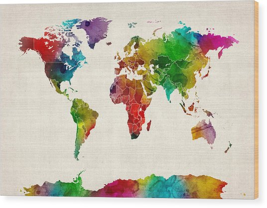 Watercolor Map Of The World Map Wood Print