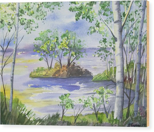 Watercolor - Minnesota North Shore Landscape Wood Print