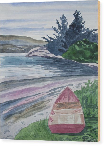 Watercolor - New Zealand Harbor Wood Print