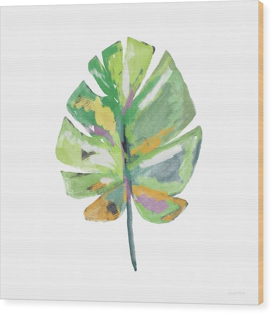 Watercolor Palm Leaf- Art By Linda Woods Wood Print