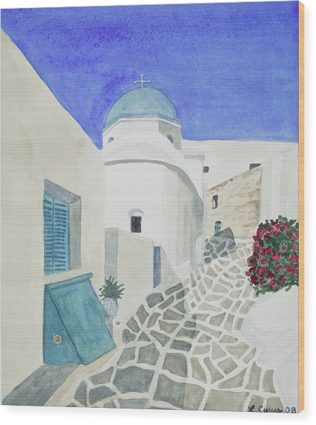 Watercolor - Paros Church And Street Scene Wood Print