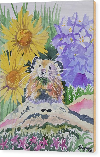 Watercolor - Pika With Wildflowers Wood Print