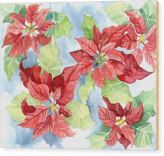 Watercolor Poinsettias Christmas Decor Wood Print