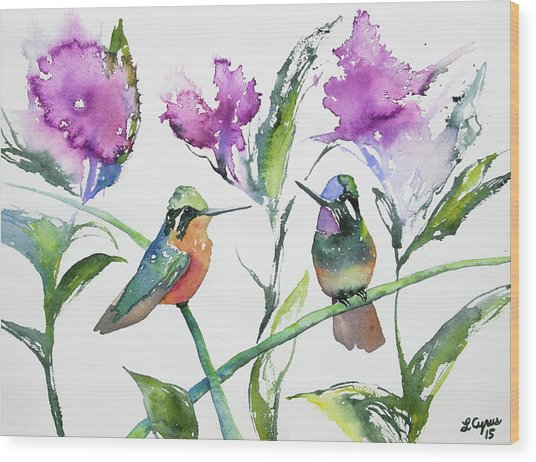 Watercolor - Purple-throated Mountain Gems And Flowers Wood Print