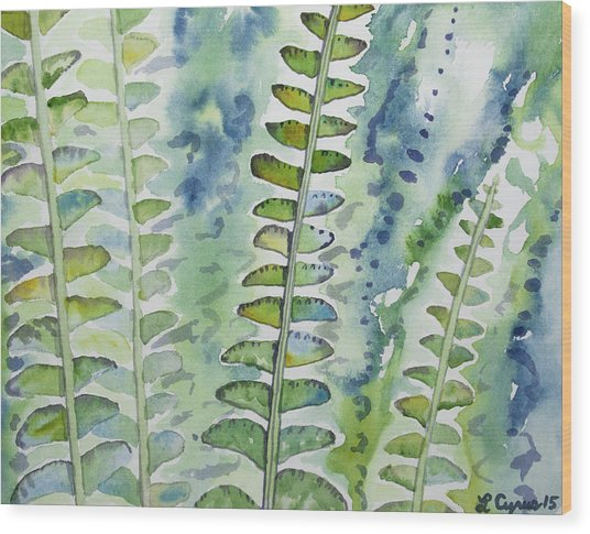 Watercolor - Rainforest Fern Impressions Wood Print