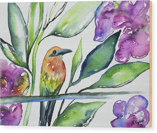 Watercolor - Rufous Motmot Wood Print