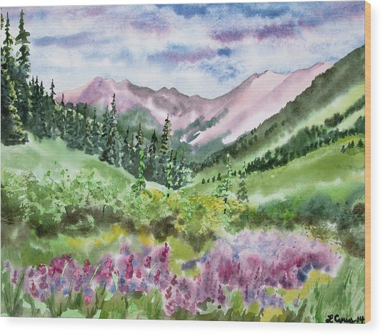 Watercolor - San Juans Mountain Landscape Wood Print