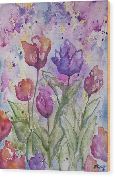 Watercolor - Spring Flowers Wood Print