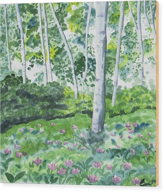 Watercolor - Spring Forest And Flowers Wood Print