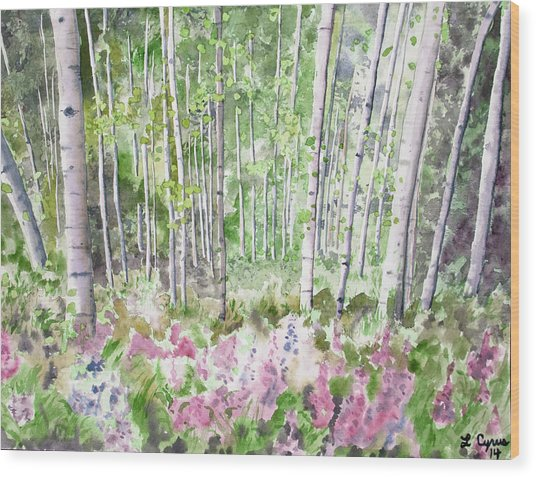 Watercolor - Summer Aspen Glade Wood Print