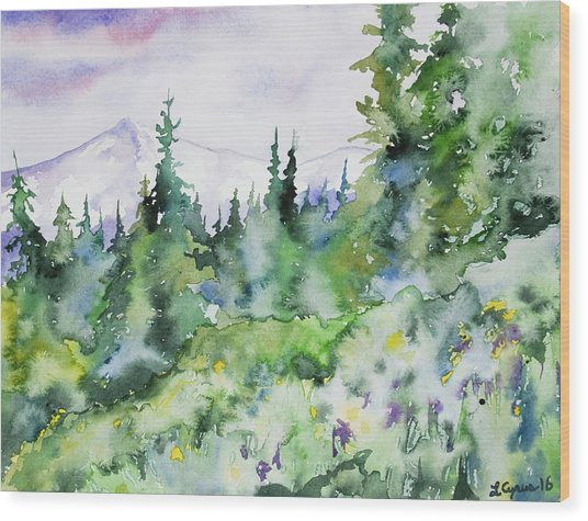 Watercolor - Summer In The Rockies Wood Print