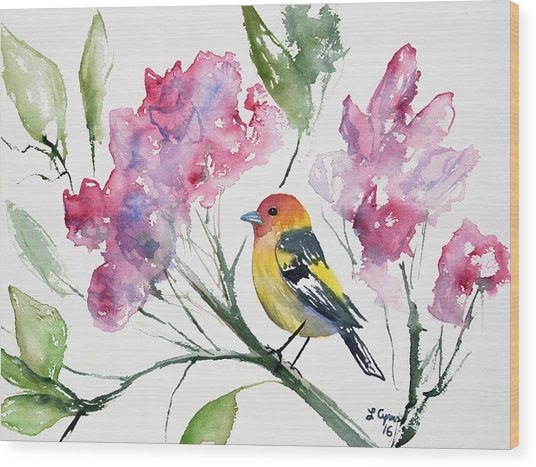 Watercolor - Western Tanager In A Flowering Tree Wood Print