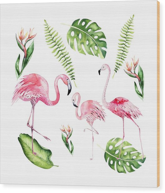 Wood Print featuring the painting Watercolour Flamingo Family by Georgeta Blanaru