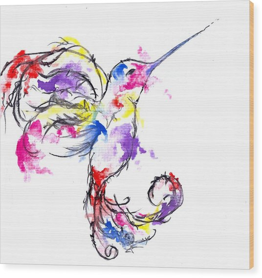 Watercolour Hummingbird Wood Print