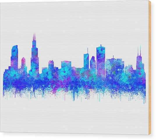 Wood Print featuring the painting Watercolour Splashes And Dripping Effect Chicago Skyline by Georgeta Blanaru
