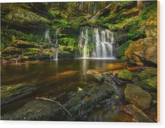 Waterfall At Day Pond State Park Wood Print