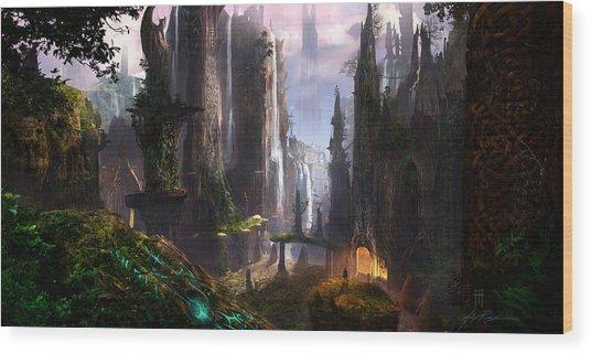 Waterfall Celtic Ruins Wood Print