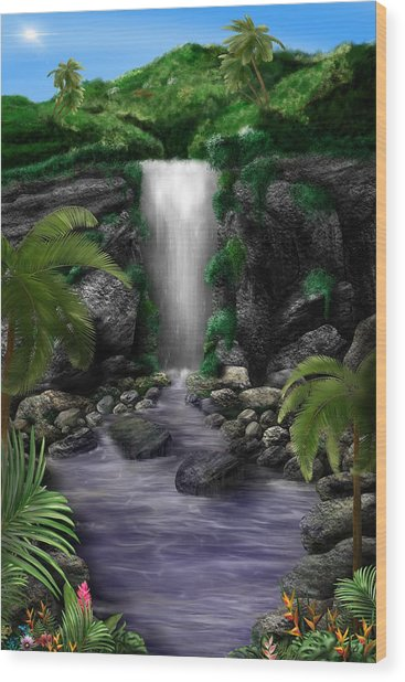 Waterfall Creek Wood Print