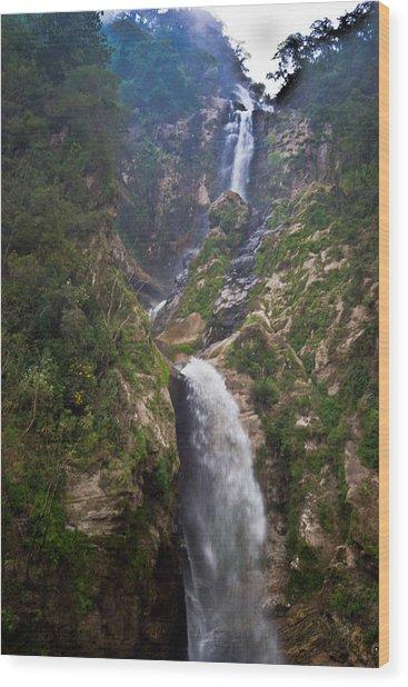 Waterfall Highlands Of Guatemala 1 Wood Print